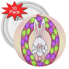 Make An Easter Egg Wreath Rabbit Face Cute Pink White 3  Buttons (10 Pack)