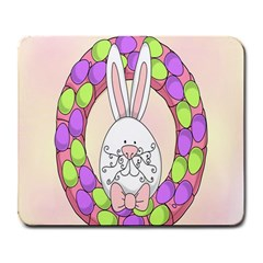 Make An Easter Egg Wreath Rabbit Face Cute Pink White Large Mousepads by Mariart