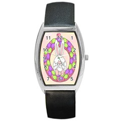 Make An Easter Egg Wreath Rabbit Face Cute Pink White Barrel Style Metal Watch by Mariart