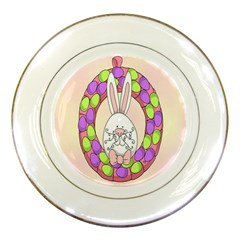 Make An Easter Egg Wreath Rabbit Face Cute Pink White Porcelain Plates