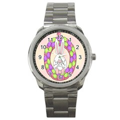 Make An Easter Egg Wreath Rabbit Face Cute Pink White Sport Metal Watch