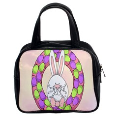 Make An Easter Egg Wreath Rabbit Face Cute Pink White Classic Handbags (2 Sides) by Mariart