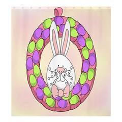 Make An Easter Egg Wreath Rabbit Face Cute Pink White Shower Curtain 66  X 72  (large)  by Mariart