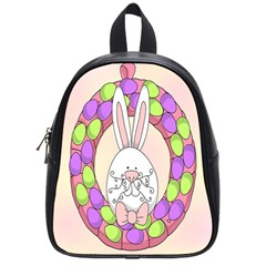 Make An Easter Egg Wreath Rabbit Face Cute Pink White School Bags (small)  by Mariart