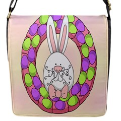 Make An Easter Egg Wreath Rabbit Face Cute Pink White Flap Messenger Bag (s) by Mariart