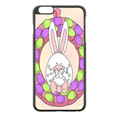 Make An Easter Egg Wreath Rabbit Face Cute Pink White Apple Iphone 6 Plus/6s Plus Black Enamel Case by Mariart