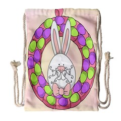 Make An Easter Egg Wreath Rabbit Face Cute Pink White Drawstring Bag (large)