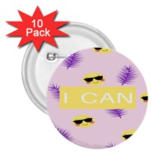I Can Purple Face Smile Mask Tree Yellow 2 25  Buttons (10 Pack)  by Mariart