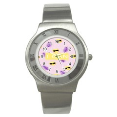 I Can Purple Face Smile Mask Tree Yellow Stainless Steel Watch by Mariart