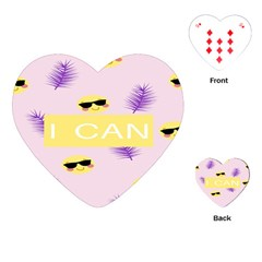 I Can Purple Face Smile Mask Tree Yellow Playing Cards (heart)  by Mariart