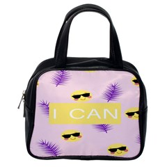 I Can Purple Face Smile Mask Tree Yellow Classic Handbags (one Side) by Mariart