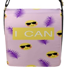 I Can Purple Face Smile Mask Tree Yellow Flap Messenger Bag (s) by Mariart