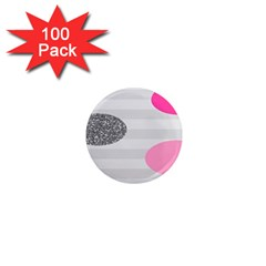 Polkadot Circle Round Line Red Pink Grey Diamond 1  Mini Magnets (100 Pack)  by Mariart