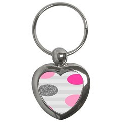 Polkadot Circle Round Line Red Pink Grey Diamond Key Chains (heart)  by Mariart