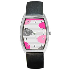 Polkadot Circle Round Line Red Pink Grey Diamond Barrel Style Metal Watch by Mariart