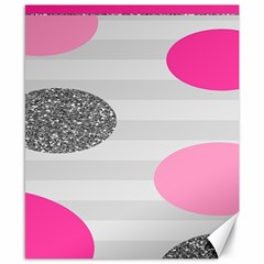 Polkadot Circle Round Line Red Pink Grey Diamond Canvas 8  X 10  by Mariart