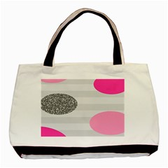 Polkadot Circle Round Line Red Pink Grey Diamond Basic Tote Bag (two Sides) by Mariart