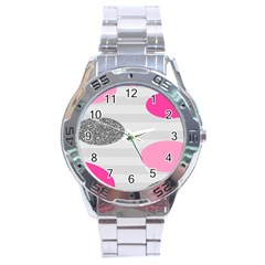 Polkadot Circle Round Line Red Pink Grey Diamond Stainless Steel Analogue Watch by Mariart