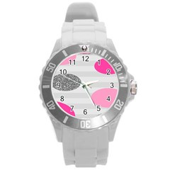 Polkadot Circle Round Line Red Pink Grey Diamond Round Plastic Sport Watch (l) by Mariart