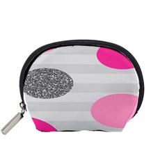 Polkadot Circle Round Line Red Pink Grey Diamond Accessory Pouches (small)  by Mariart
