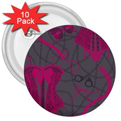 Pink Black Handcuffs Key Iron Love Grey Mask Sexy 3  Buttons (10 Pack)  by Mariart