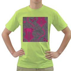 Pink Black Handcuffs Key Iron Love Grey Mask Sexy Green T Shirt by Mariart