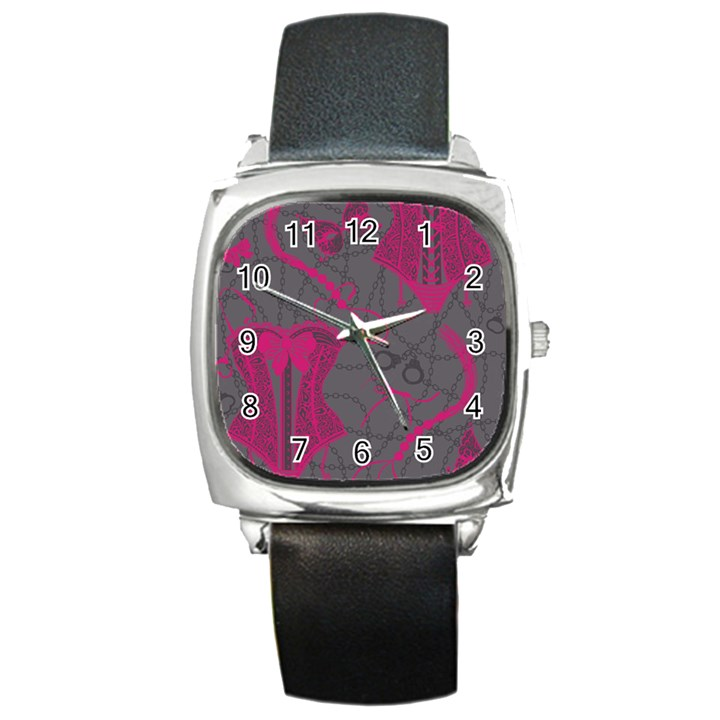 Pink Black Handcuffs Key Iron Love Grey Mask Sexy Square Metal Watch