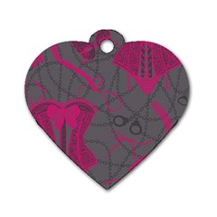 Pink Black Handcuffs Key Iron Love Grey Mask Sexy Dog Tag Heart (two Sides) by Mariart