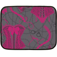 Pink Black Handcuffs Key Iron Love Grey Mask Sexy Fleece Blanket (mini) by Mariart