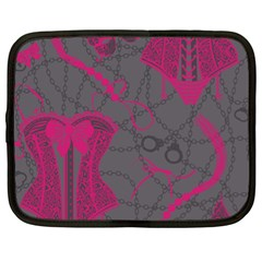 Pink Black Handcuffs Key Iron Love Grey Mask Sexy Netbook Case (xl)  by Mariart