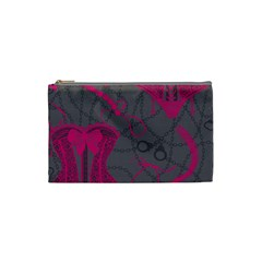 Pink Black Handcuffs Key Iron Love Grey Mask Sexy Cosmetic Bag (small)  by Mariart