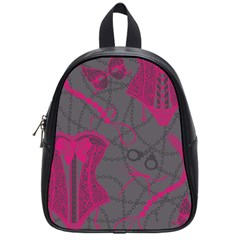 Pink Black Handcuffs Key Iron Love Grey Mask Sexy School Bags (small)  by Mariart