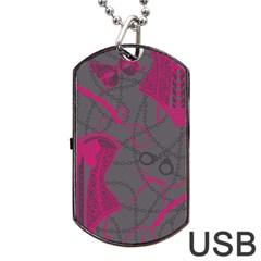 Pink Black Handcuffs Key Iron Love Grey Mask Sexy Dog Tag Usb Flash (one Side) by Mariart