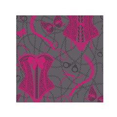Pink Black Handcuffs Key Iron Love Grey Mask Sexy Small Satin Scarf (square) by Mariart