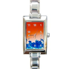 Simulate Weather Fronts Smoke Blue Orange Rectangle Italian Charm Watch by Mariart