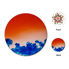 Simulate Weather Fronts Smoke Blue Orange Playing Cards (round)  by Mariart