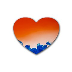 Simulate Weather Fronts Smoke Blue Orange Heart Coaster (4 Pack)  by Mariart