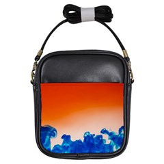 Simulate Weather Fronts Smoke Blue Orange Girls Sling Bags by Mariart