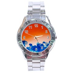 Simulate Weather Fronts Smoke Blue Orange Stainless Steel Analogue Watch by Mariart