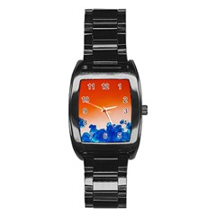 Simulate Weather Fronts Smoke Blue Orange Stainless Steel Barrel Watch by Mariart