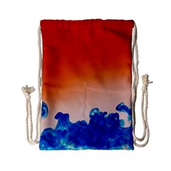 Simulate Weather Fronts Smoke Blue Orange Drawstring Bag (small) by Mariart