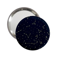 Star Zodiak Space Circle Sky Line Light Blue Yellow 2 25  Handbag Mirrors