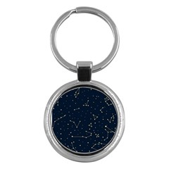 Star Zodiak Space Circle Sky Line Light Blue Yellow Key Chains (round)  by Mariart
