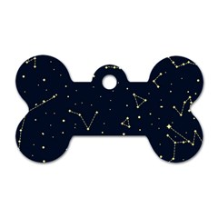 Star Zodiak Space Circle Sky Line Light Blue Yellow Dog Tag Bone (two Sides) by Mariart
