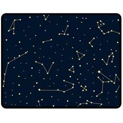 Star Zodiak Space Circle Sky Line Light Blue Yellow Double Sided Fleece Blanket (medium)  by Mariart