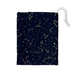Star Zodiak Space Circle Sky Line Light Blue Yellow Drawstring Pouches (large)  by Mariart