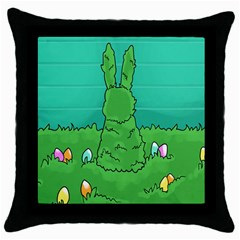 Rabbit Easter Green Blue Egg Throw Pillow Case (black) by Mariart