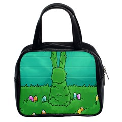 Rabbit Easter Green Blue Egg Classic Handbags (2 Sides) by Mariart