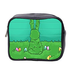 Rabbit Easter Green Blue Egg Mini Toiletries Bag 2 Side by Mariart