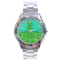 Rabbit Easter Green Blue Egg Stainless Steel Analogue Watch